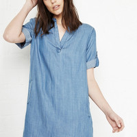 Washed Blue Denim V-neck Roll-up Sleeve Mini Dress