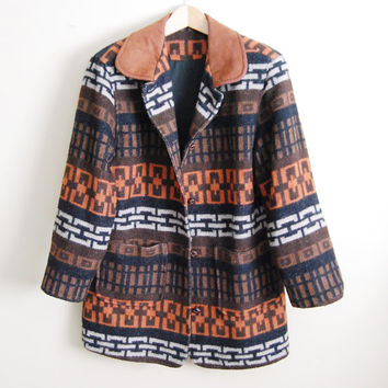 Chain Reaction - Vintage 90s Tribal Aztec Print Wool Fleece Jacket Coat