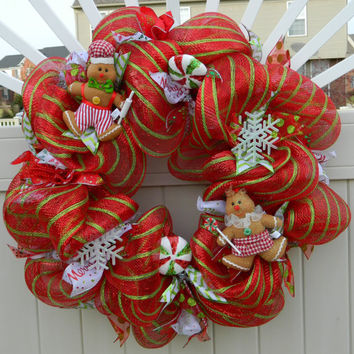 Christmas Wreath - Gingerbread and Candy - Deco Mesh - Red and Green - Holiday Wreath - Xmas Wreath - Christmas Decor