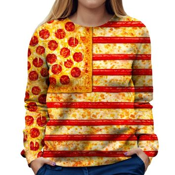 United States Flag Pizza Womens Sweatshirt