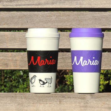 personalized coffee cup, coffee cup to go, hot coffee cup, monogrammed coffee tumbler, coffee cup with lid, purple coffee cup