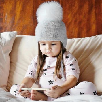 2017 New Fashion Keep Warm Boy Girl Hair Ball Earbud Hat Child Print Knit Hat Autumn And Winter Girl's hats Boy's cap Hats