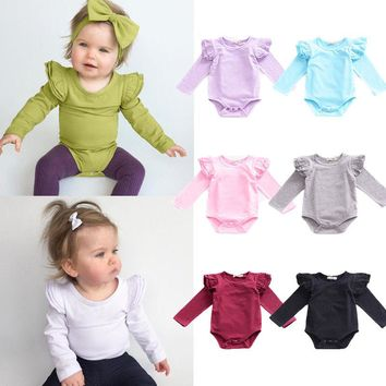 Infant Toddler Baby Rompers Girls Boy Long Sleeve Romper Cotton Casual Outfits Jumpsuit Baby Clothes 0-2T