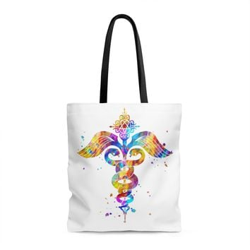 Watercolor Caduceus Tote Bag