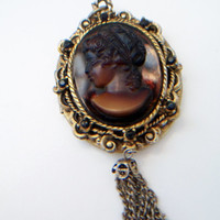 brown glass cameo locket pendant, vintage cameo locket