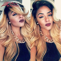 7A Ombre Two Tone Blonde Full Lace Wigs Body Wave Human Hair For Black Women Peruvian Virgin Glueless Front Lace Wig