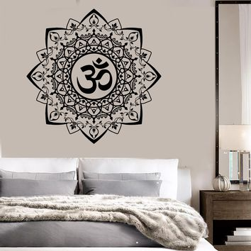 Vinyl Wall Decal Buddhism Mandala Ornament Om Bedroom Stickers Unique Gift (ig3513)