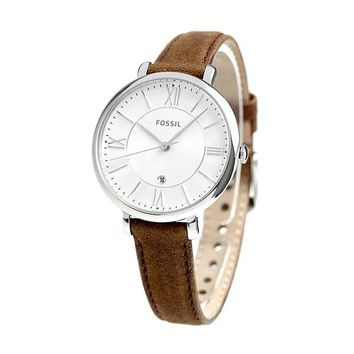 Fossil Womens ES3708 Silver Case and Dial with Brown Leather Band Watch