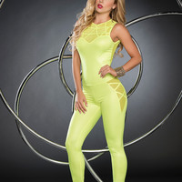 Neon Jumpsuit With Mesh Panels-EDM Clothing|Rave Wear