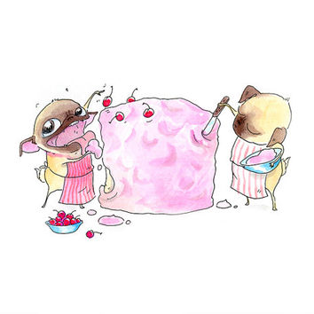 Cute Pug Kitchen Art Print - Pug-Baked Cake with Pink Frosting and Cherries on Top - Pug Illustration from InkPug!