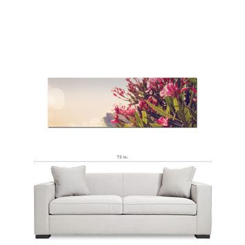 Greek Landscape - Pink Flower - Feminine Decor - Floral Wall Art - Panoramic Canvas - Green and Hazy - Large Canvas - 20 x 60 Canvas