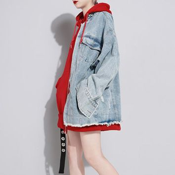 Hooded Patchwork Denim Women Jacket Female Coats Long Sleeve Plus Velvet Loose Winter Sweatshirts Clothes New
