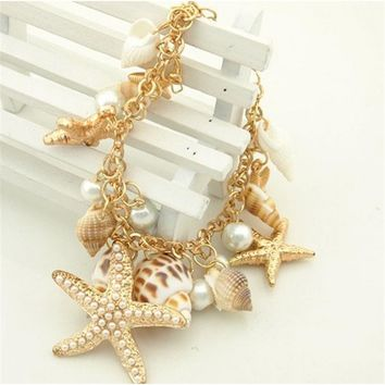 Ocean Sea Shell Starfish Faux Bracelets Bangles Pendant Jewelry For Women Fashion Jewelry