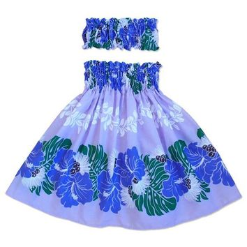 Jamba Purple Girl's Pau Hawaiian Hula Skirt Set