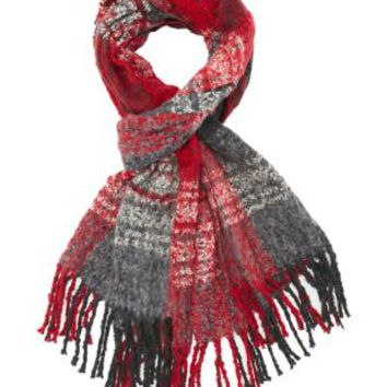 Red Combo Tri Color Plaid Fringe Scarf by Charlotte Russe