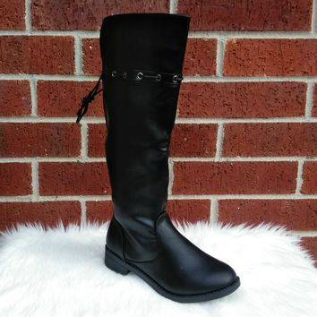 Girl's Black Over the Knee Boots