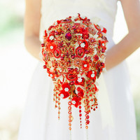 Deposit on cascading red and gold brooch bouquet -- made to order  bridal bouquet