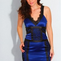 Lace Trim Satin Dress - Diva Hot Couture