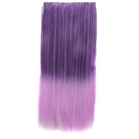Sexy On Sale Beauty Hot Deal Hot Sale Color Wig Dark Purple Gradient Pale Violet Straight Hair Clip Wigs Hair Extensions [4923184196]