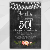 50th Birthday invitation, String Lights Watercolor Chalkboard Invitation, 13th 18th 21st 30th 40th 50th, etsy invitation XA003c