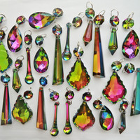 25 Chains Vitrail Vintage Colour AB Chandelier Drops Glass Crystals Droplets Beads Christmas Tree Wedding Decoration Gothic Light Lamp Parts