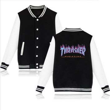 Thrasher flame special large size tide coat plus cashmere couple baseball clothing Blue letters-3