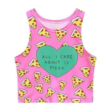Pizza Ice Cream Watermelon Cactus Donuts Printed Tank Tops - Ladies Novelty Crop Tops