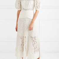 Self-Portrait - Satin-paneled lace midi dress