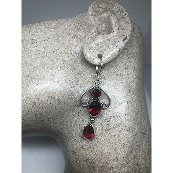 Antique vintage Red Ruby Volcanic glass Silver dangle earrings