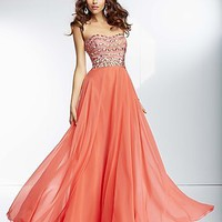 Strapless Long Prom Gown by Mori Lee