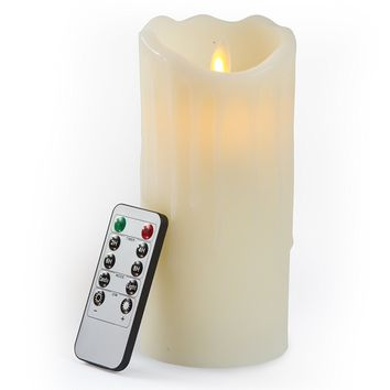 Gideon 7 Inch Flameless LED Candle - Dripping Style - Real Wax & Real Flickering Candle Motion - with Multi-Function Remote (On/Off, Timer, Dimmer) - Vanilla Scented, Ivory