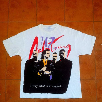 ON SALE Vintage U2 Every Artist Is A Cannibal Achtung Baby Bono Post Punk Rock 80's Zoo Tv Tour T shirt