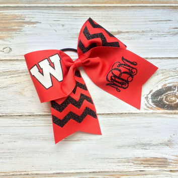 Monogrammed Cheer Bow, Custom glitter cheer bow, Cheer, Softball, Team, School, Personalized, Team Cheer bow, Black, Red, Chevron