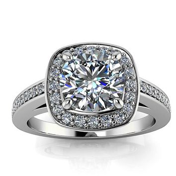 Squared Diamond Halo Round Moissanite Center - Oriana