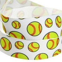 HipGirl Brand Printed Grosgrain Ribbon, 5 -Yard 7/8-Inch Softball, Yellow, Perfect for Team Hair Bows, Cheer Leader Pony Streamers, Scrapbook and More