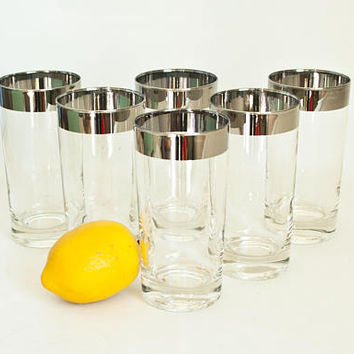 Vintage Dorothy Thorpe Era Highball Tumblers, Silver Rim Barware Glasses (Set of 6) Mad Men
