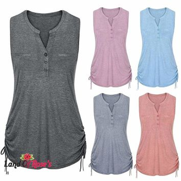 Plus-Size V-Neck Fashion Solid Sleeveless Vest Tank Rope Straps Pullover Polyester Tops Shirt