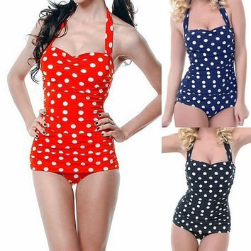 Plus Size Polka Dot One-Piece Bathing Suit