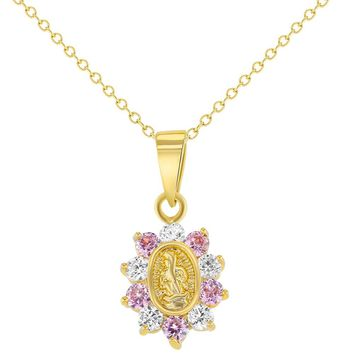 """18k Gold Plated Religious White Pink Crystal Guadalupe Virgin Girls Pendant Necklace 16"""""""
