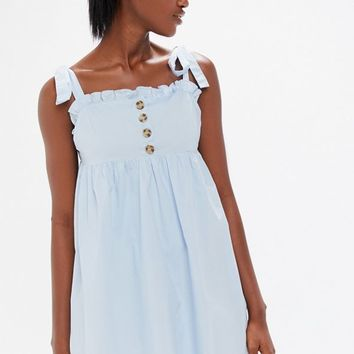 UO Poplin Tie-Shoulder Babydoll Dress | Urban Outfitters
