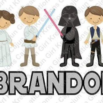 Star Wars Personalized with Name Printable Digital Iron On Transfer Clip Art DIY Tshirts Instant Download We Can Personalize!!