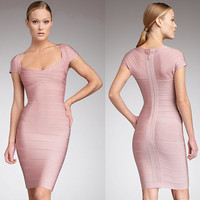 Fashion Cap-Sleeve Bodycon Bandage Dress Club Dress Cocktail Dress 6 Color