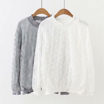 Plus size solid gray & white lace women T-shirts 2018 fashion spring autumn tshirt ruffled collar long sleeve ladies tops 4XL