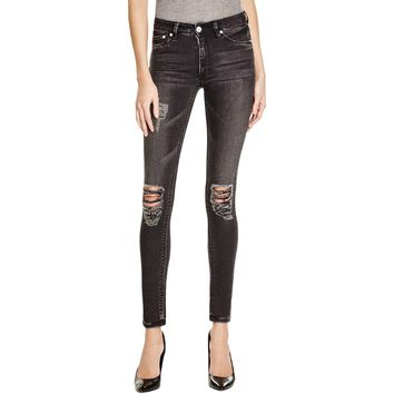 Res Denim Womens Kitty Skinny Destroyed Denim Skinny Jeans