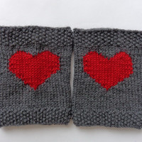 Grey Knitted Boot Cuffs With Plain Red Heart Socks, Boot Topper, Leg Warmer, Boot Covers - Choose Your Color Valentine Day