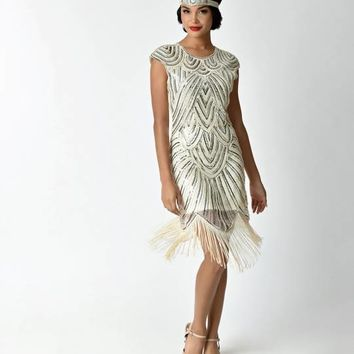 1920s Style Ivory & Silver Sequin Mesh Cap Sleeve Fringe Flapper Dress