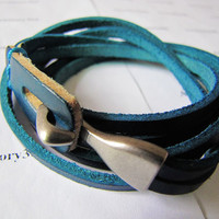 Women or Men Blue Leather Bracelet with Alloy by braceletcool