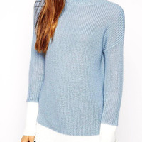 Color Block Chunky Knit Sweater