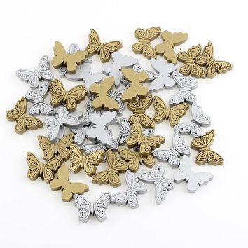 New Butterfly Wooden Beads 40Pcs Wood Findings for Baby DIY Crafts Kids Toys Teething Necklace Pacifier Clip Spacer Beading Bead