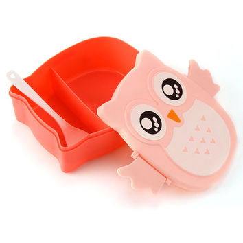 Microwave Bento Box Cartoon Owl Lunch Box Food Container Storage Japan Meal Boxes Tableware Easy-Open Microwave Oven For Kids